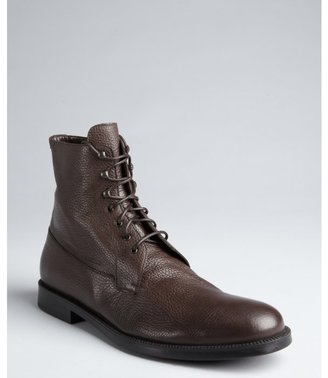 a. testoni dark chocolate leather lace up boots