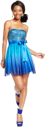 Adrianna Papell Hailey Logan by Juniors' Sequin Ombre-Print Dress