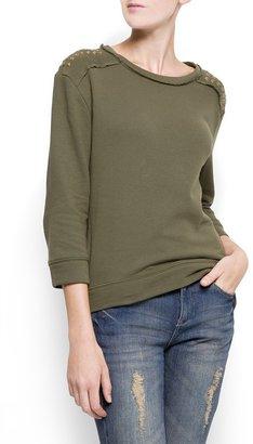 MANGO Studded shoulders sweatshirt