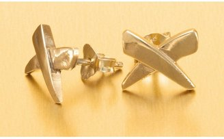 """Stanley Creations """"X"""" Stud Earrings - Gold Over Sterling Silver"""