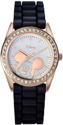 DISNEY Disney Mickey Mouse Rose-Tone Black Strap Watch $28 thestylecure.com