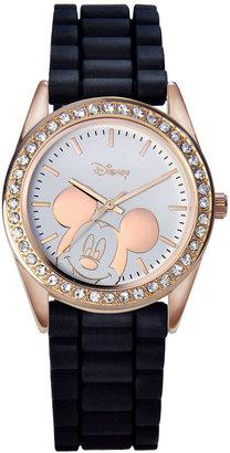 DISNEY Disney Mickey Mouse Rose-Tone Black Strap Watch $35 thestylecure.com