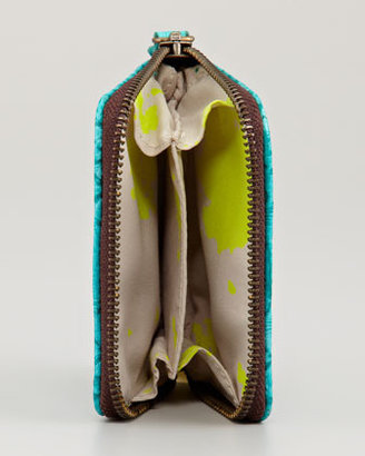 Cynthia Vincent Embossed Coin Purse, Turquoise