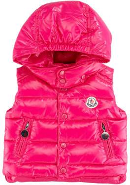 Moncler Lou Quilted Puffer Vest, Pink, 18M-2T