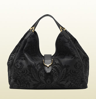 Gucci Soft Stirrup Brocade Leather Shoulder Bag