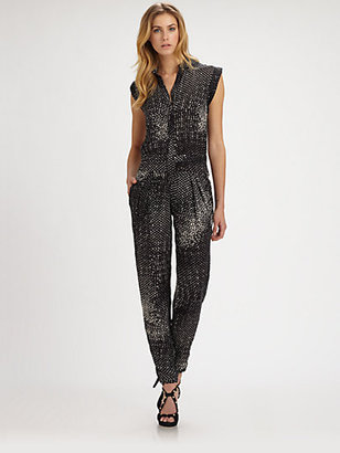 Halston Printed Silk Jumpsuit