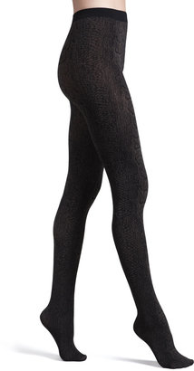 Wolford Rattlesnake-Print Opaque Tights, Maroon