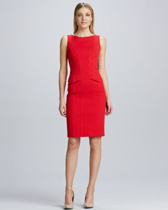 David Meister Sleeveless Mini-Peplum Sheath Dress