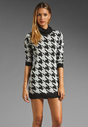 C&C California Houndstooth Funnel Neck Sweater Dress