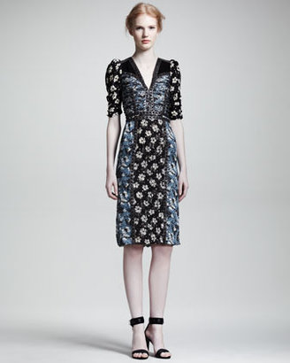 Bottega Veneta Mixed Floral-Print Half-Sleeve Dress