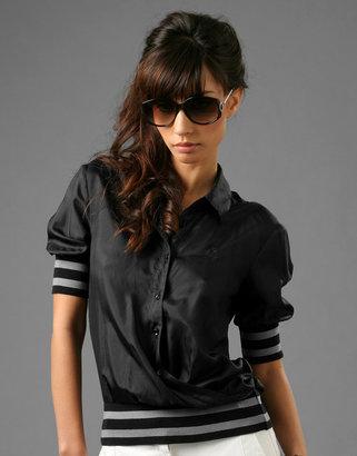 McQ by Alexander McQueen Silk Mix Short Sleeve Shirt With Webbing Stripe Bands