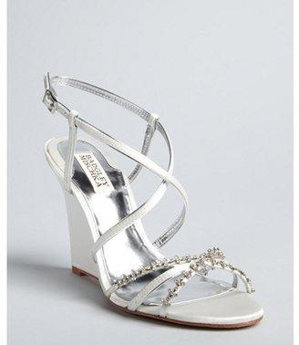 Badgley Mischka white satin 'Gisele' jeweled wedge sandals