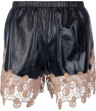 Versace lace paneled shorts