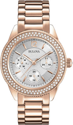 Bulova Womens Crystal-Accent Rose-Tone Stainless Steel Bracelet Watch 97N101 $425 thestylecure.com