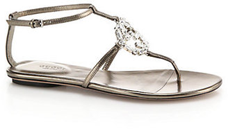Gucci GG Crystal & Leather Sandals