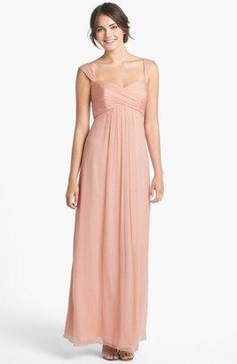 Amsale Cap Sleeve Chiffon Gown
