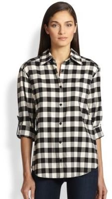 Alice + Olivia Piper Leather-Tab Shirt