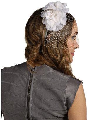 Jane Tran White Silk Flower Headband with Netting