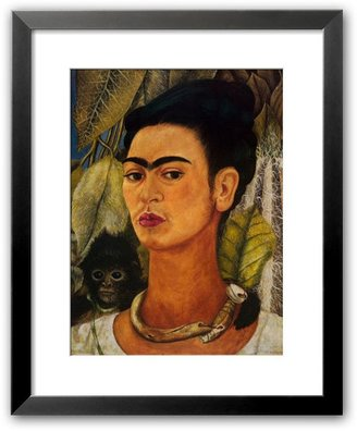 "Art.com Self-Portrait with Monkey, 1938"" Framed Art Print by Frida Kahlo"