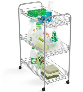 Container Store 3-Tier Grande Rolling Cart Silver