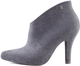 Melissa Shoes Drama Flocked Waterproof Bootie, Gray