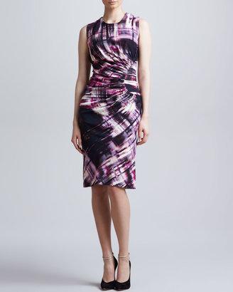 Lela Rose Sleeveless Jewel-Neck Dress