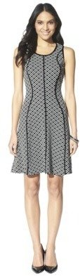 Mossimo Womens Jacquard Fit & Flare Dress - Ebony/White