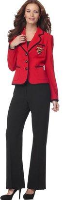 Nine West Suit, Contrast Piped Jacket & Pants