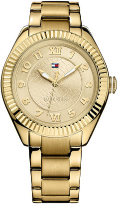 Tommy Hilfiger Watch, Women's Gold-Tone Stainless Steel Bracelet 41mm 1781345