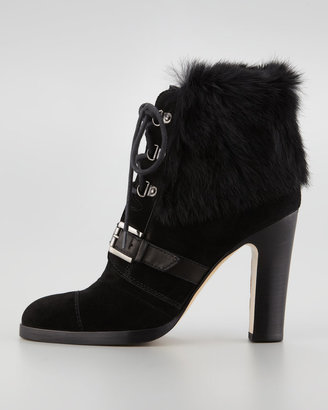 Aquatalia by Marvin K Grandly Suede-Rabbit Fur Lace-Up Boot, Black
