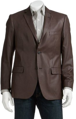 Savile row faux-leather blazer