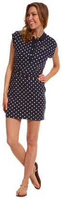 Fred Perry Cap Sleeve Polka Dot Dress (Carbon Blue) - Apparel