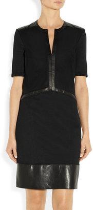 Helmut Lang Motion leather-trimmed stretch-knit dress