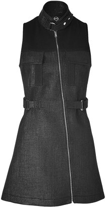 McQ by Alexander McQueen Black Woven A-Line Dress with Zip