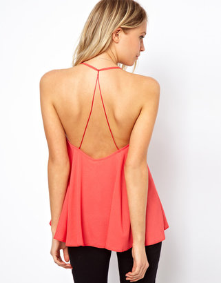 Asos Cami With Backless Detail And Plunge Neck