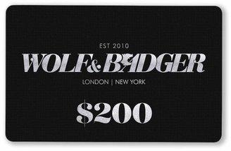 Wolf & Badger Digital Gift Card $200