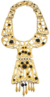 Ben-Amun Ben Amun Gold Foil Black Bead Collar Necklace