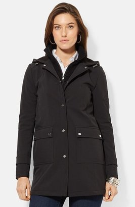 Women's Lauren Ralph Lauren Front Insert Hooded Soft Shell Jacket $200 thestylecure.com
