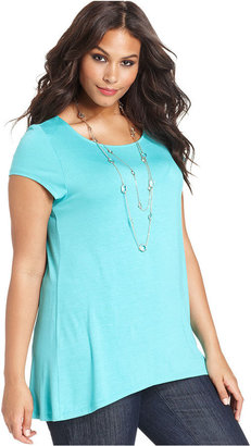 Cha Cha Vente Plus Size Top, Short-Sleeve High-Low