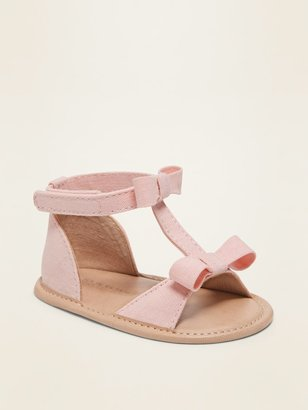 Old Navy Linen-Blend Bow-Tie T-Strap Sandals for Baby