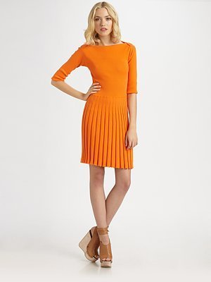 See by Chloe Short Sleeve Ribbed Sweater Dress