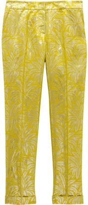 Tory Burch Lola metallic silk-blend brocade straight-leg pants
