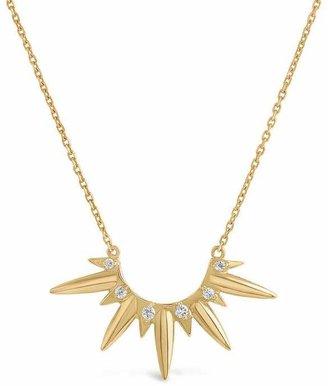 Sunbeam Dinny Hall 18Ct Gold Beatrix Large Rising Sun Diamond Pendant Necklace