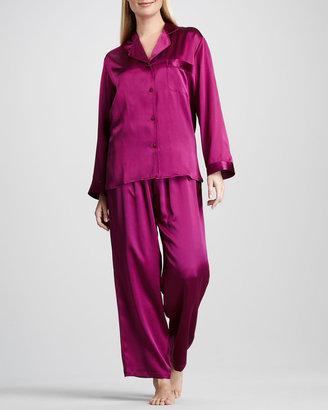Neiman Marcus Tailored Silk Pajamas, Jelly