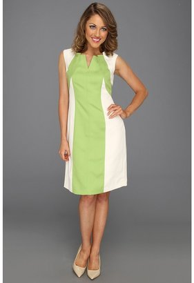 Ellen Tracy Cap Sleeve Dress with Spliced Color (Lime/Ivory) - Apparel