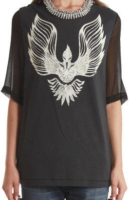 3.1 Phillip Lim Phoenix T-Shirt with Beaded Collar
