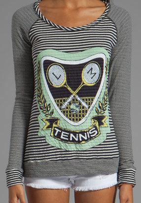 Lauren Moshi Margo Green Color Tennis Pullover in Blue/White Stripe