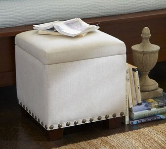 Raleigh Upholstered Storage Cube with Nailhead