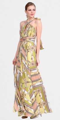 Kay Unger Scarf Print Halter Maxi Dresses