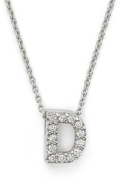Roberto Coin 18K White Gold Initial Love Letter Pendant Necklace with Diamonds, 16